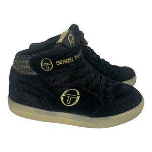 Sergio Tacchinni Mid-Top Sneakers EUR Size 29 Black Velvet Shoes Velcro